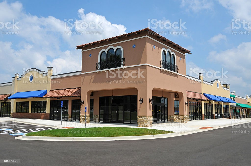 A deserted strip mall with no customers stock photo