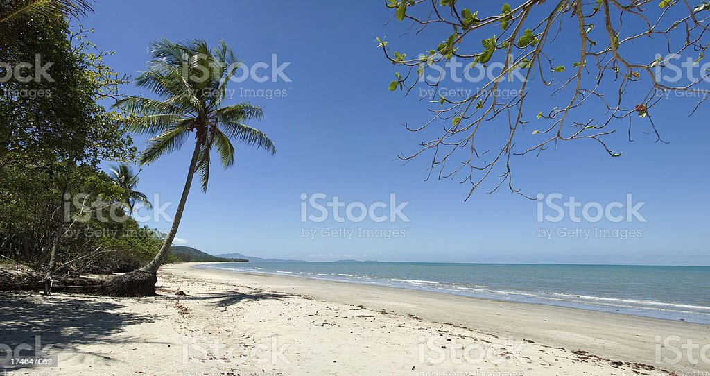 Deserted tropical beach Panorama, Queensland, Australia royalty-free stock photo