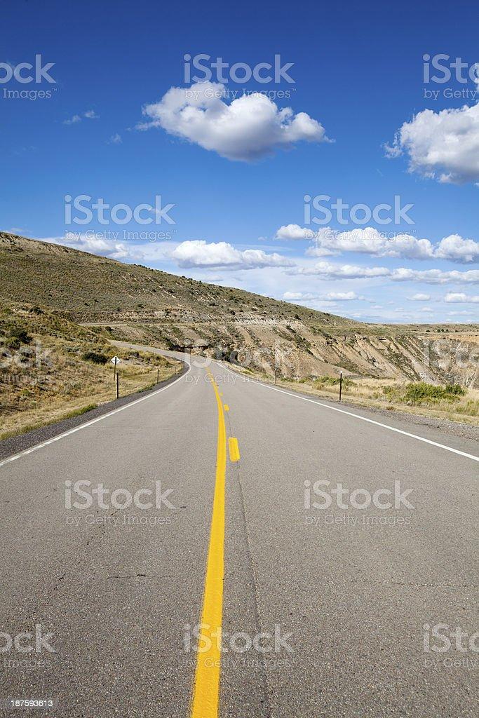 Deserted two lane highway in rural Utah royalty-free stock photo
