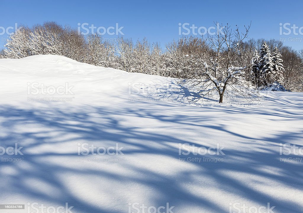 Deserted winter hilly field landscape with beautiful shadows royalty-free stock photo