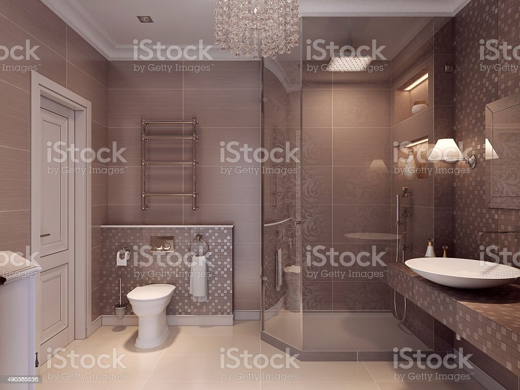 Design a bathroom in a classic style. stock photo