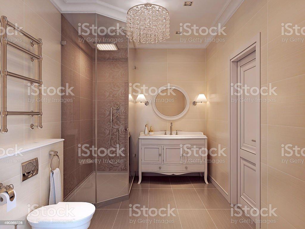 Design a bathroom in neoclassic style. stock photo