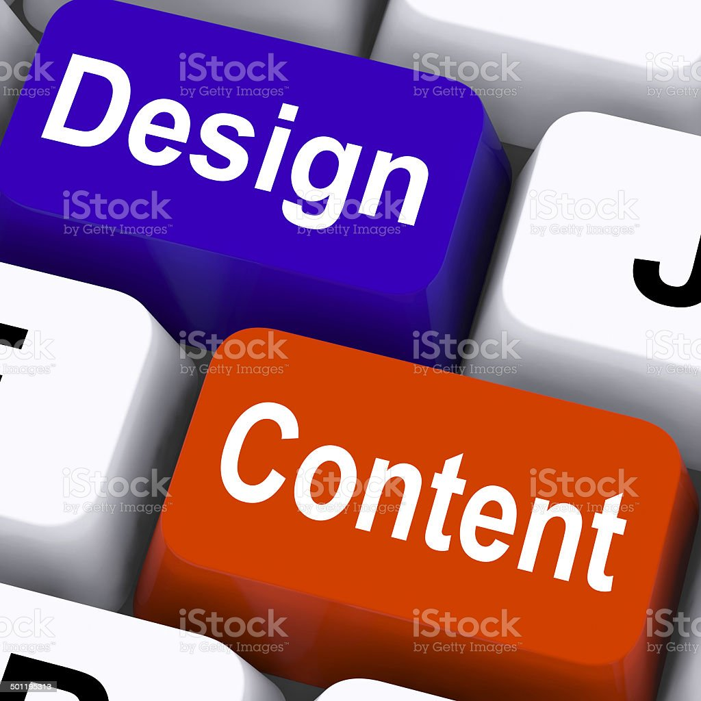Design And Content Keys Mean Presentation Of Company Advertising stock photo