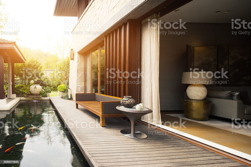 design and deco in rest place outside house stock photo