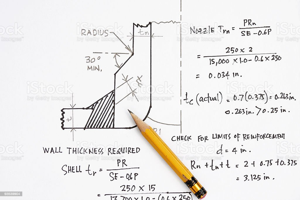 Design calculation of ASME nozzle royalty-free stock photo