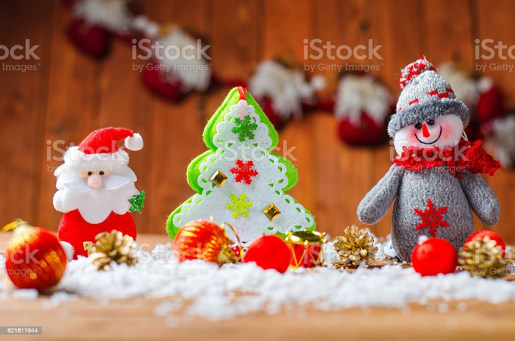 Design Christmas Cards: snowman, Santa Claus and Christmas tree stock photo