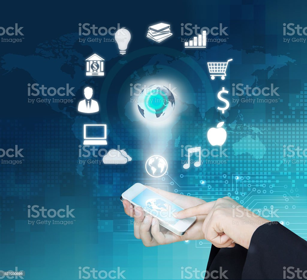 Design concept of Business and Information technology stock photo