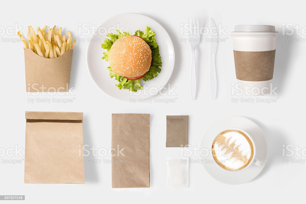 Design concept of mock up burger and coffee set stock photo