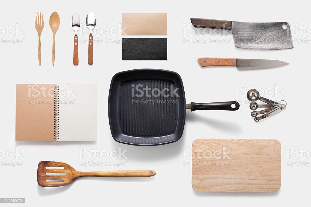 Design concept of mockup arious kitchenware utensils set on whit stock photo