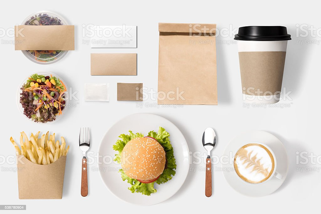 Design concept of mockup burger and coffee set isolated stock photo