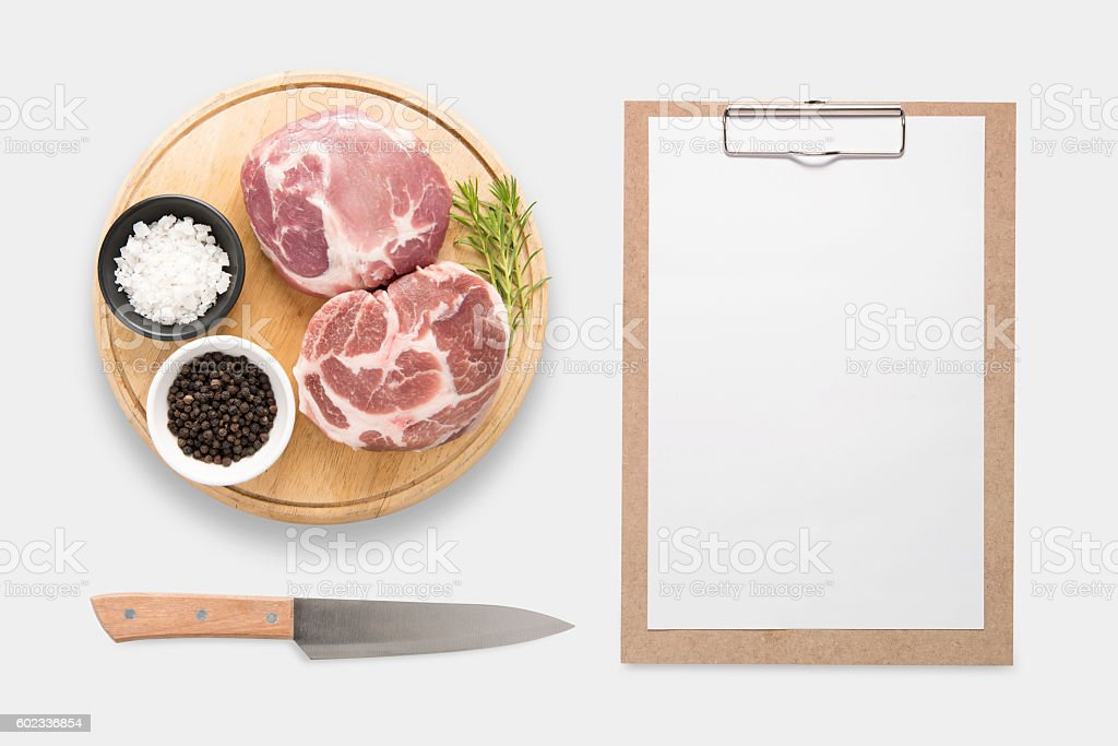 Design concept of mockup clip board and pork isolated. stock photo