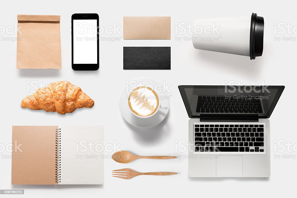 Design concept of mockup coffee break time isolated stock photo
