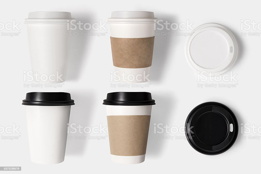 Design concept of mockup coffee cup set and lid set stock photo