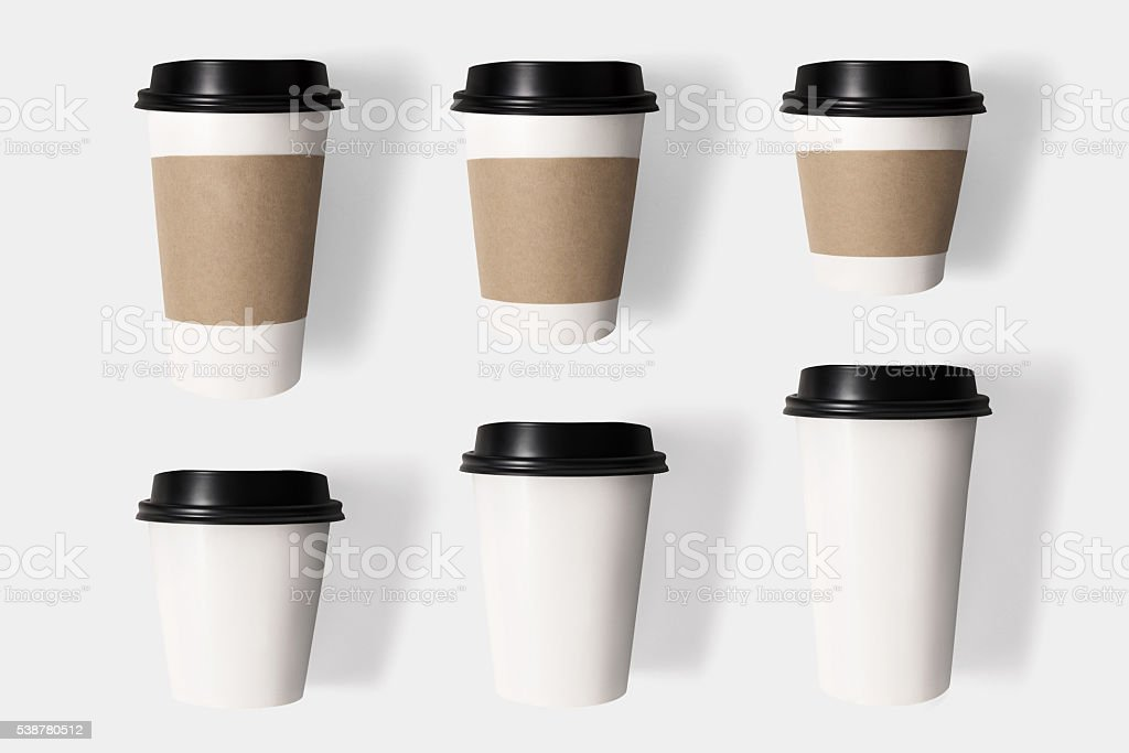 Design concept of mockup coffee cup set on  isolated stock photo