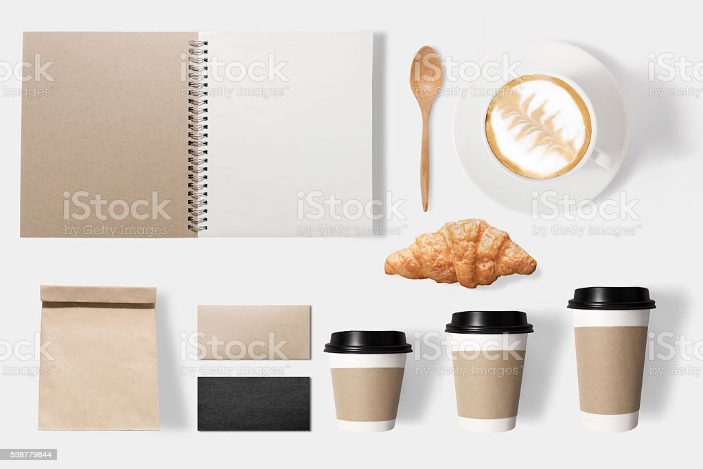 Design concept of mockup coffee set isolated on white background stock photo