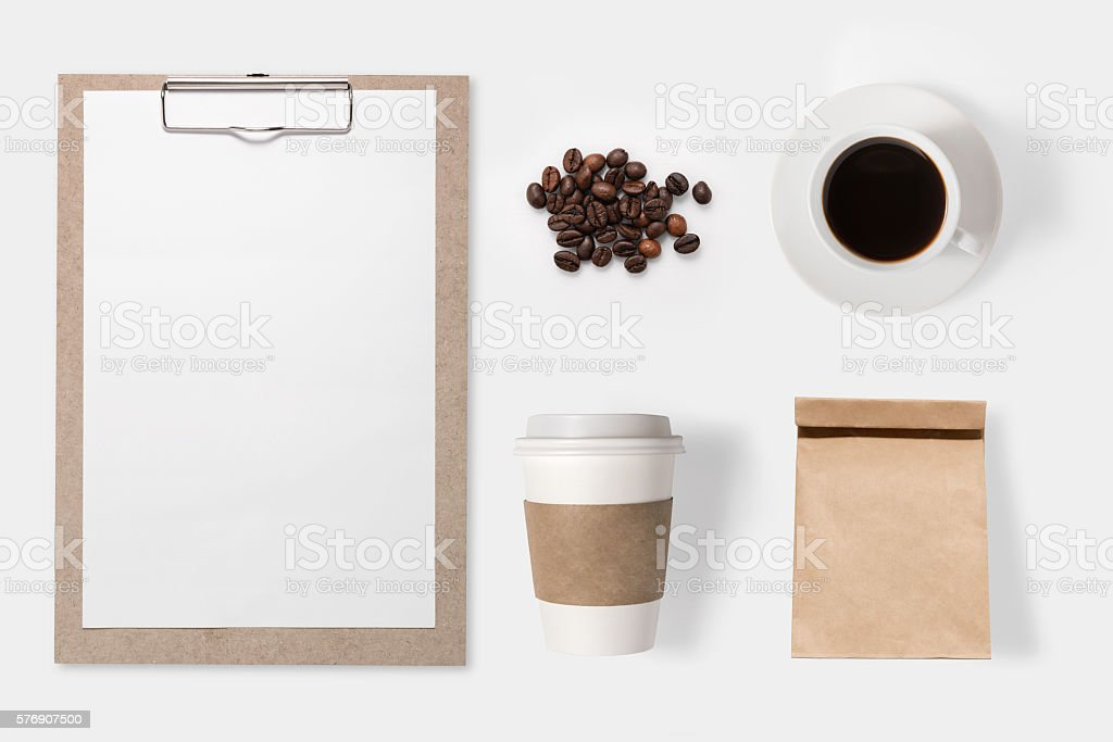 Design concept of mockup coffee set isolated on white background. stock photo