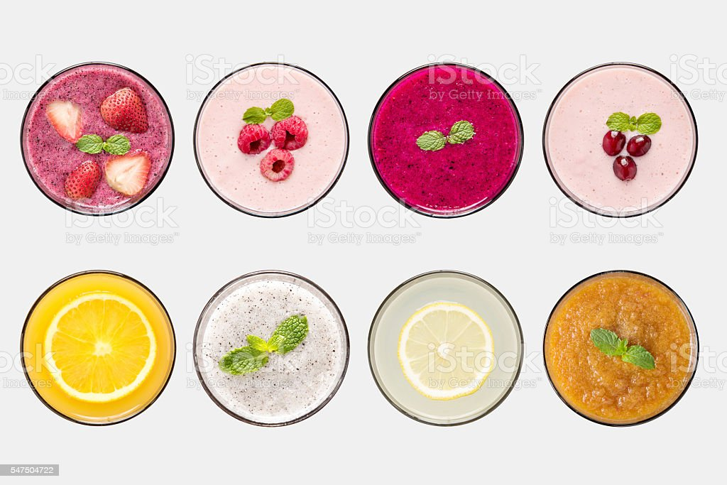 Design concept of mockup fruit smoothie and fruit juice set stock photo
