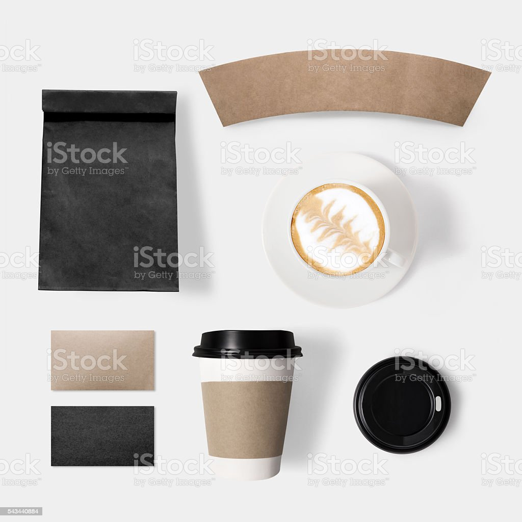 Design concept of mockup paper, bag, lid and coffee cup stock photo