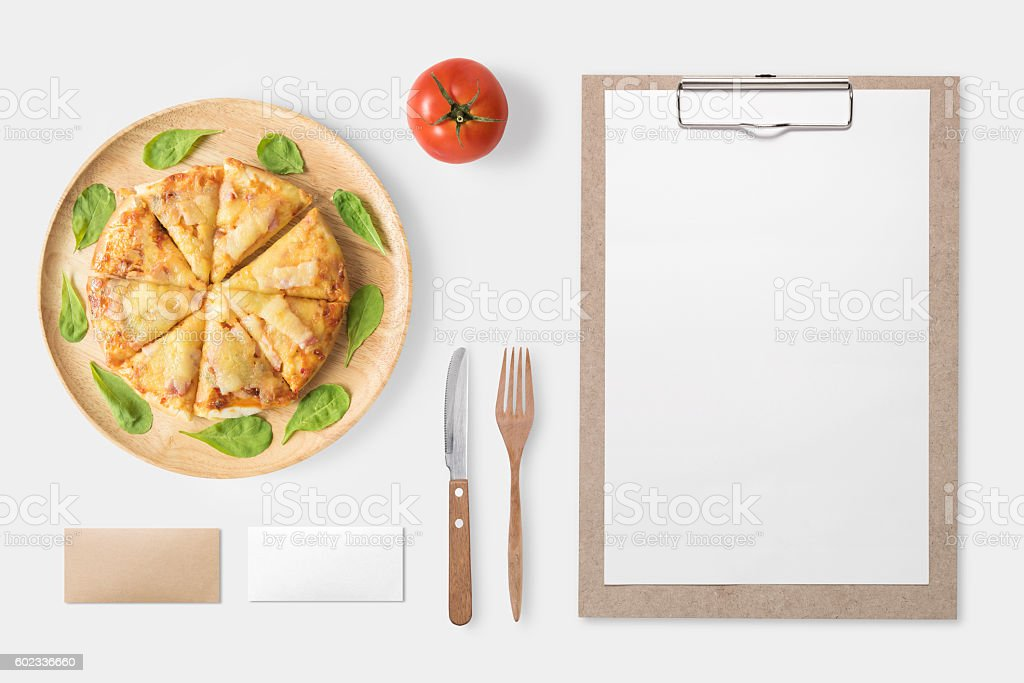 Design concept of mockup pizza and clip board set isolated. stock photo