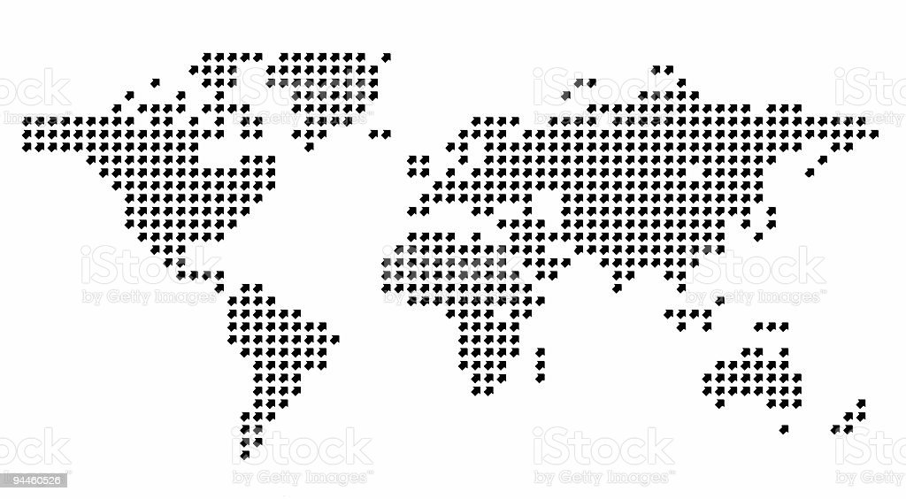 Design Element - World Map made from arrows stock photo