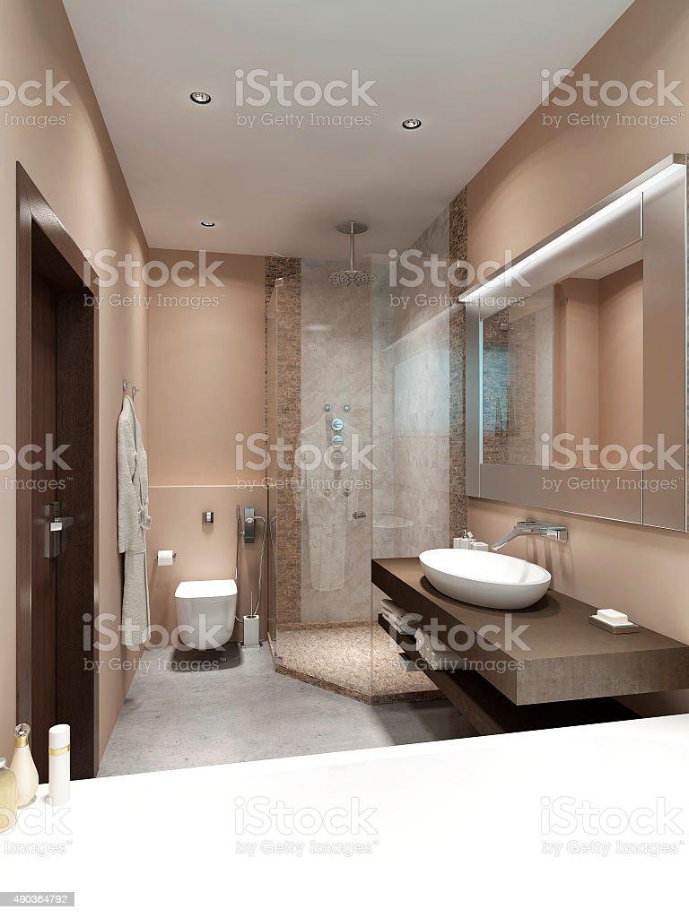Design in Contemporary style bathrooms. stock photo