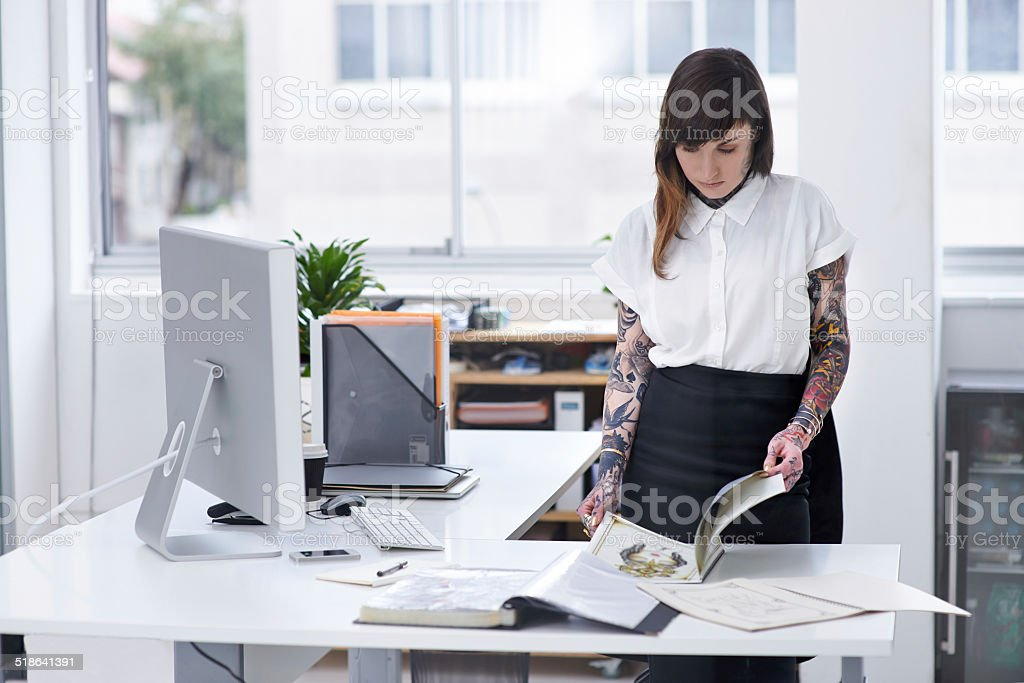 Design is part of her life stock photo
