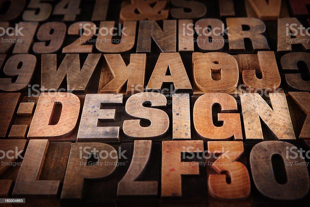 Design - Letterpress letters stock photo