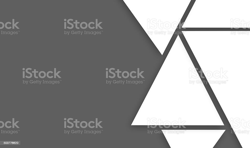 design made of big triangle shapes on gray right sided stock photo