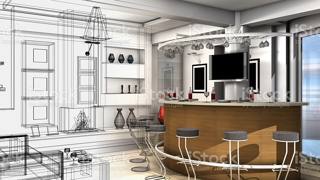 Design of a living room, abstract wire frame render stock photo