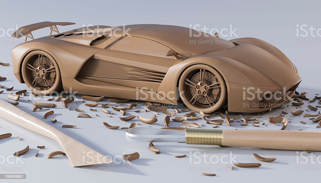 A design of a sculpted car with sculpting tools stock photo