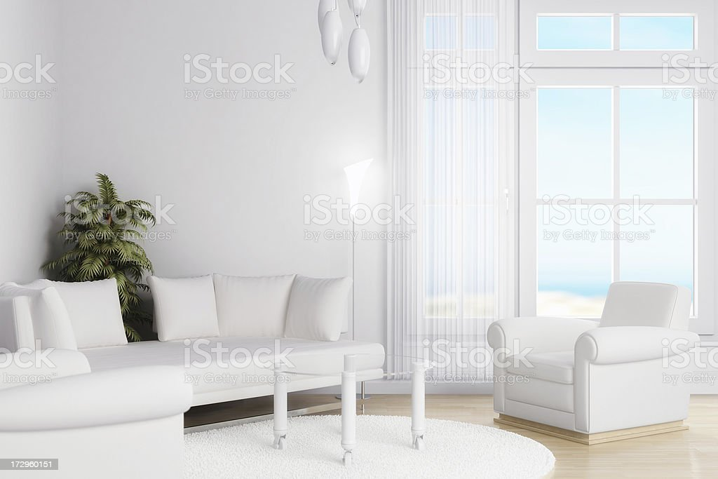 A CGI design of a white living room royalty-free stock photo