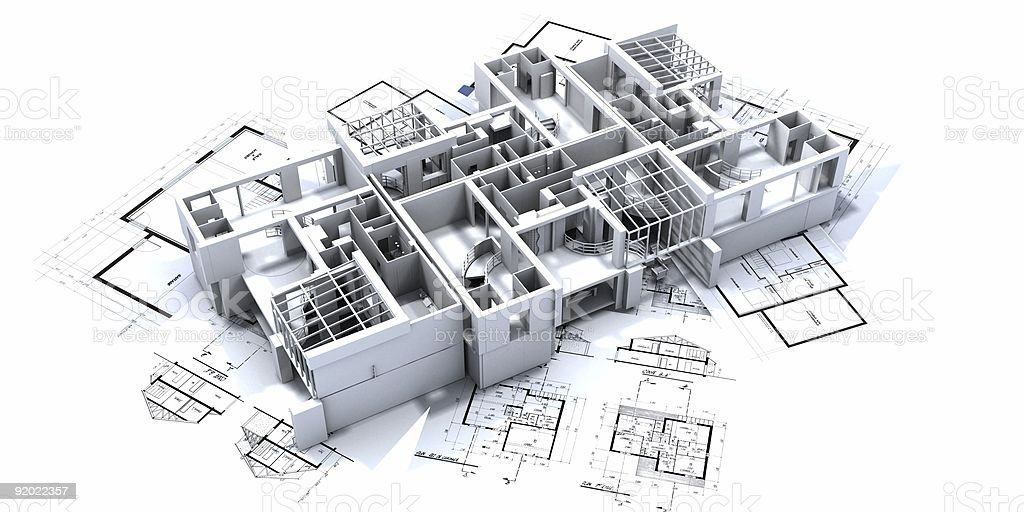 A 3D design of an apartment sitting on blueprints royalty-free stock photo