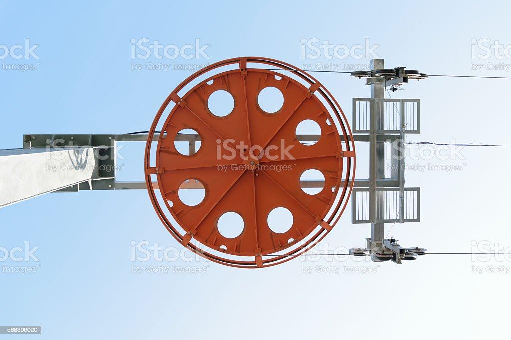 Design of main ski lift support. Bottom view stock photo