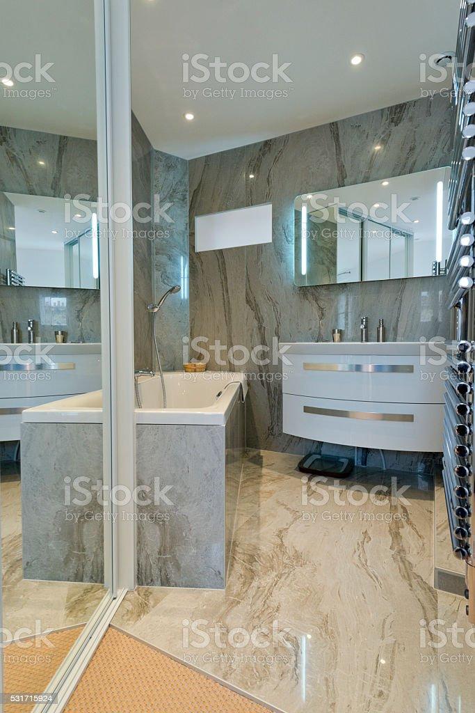 Design of modern luxury bathroom interior. stock photo