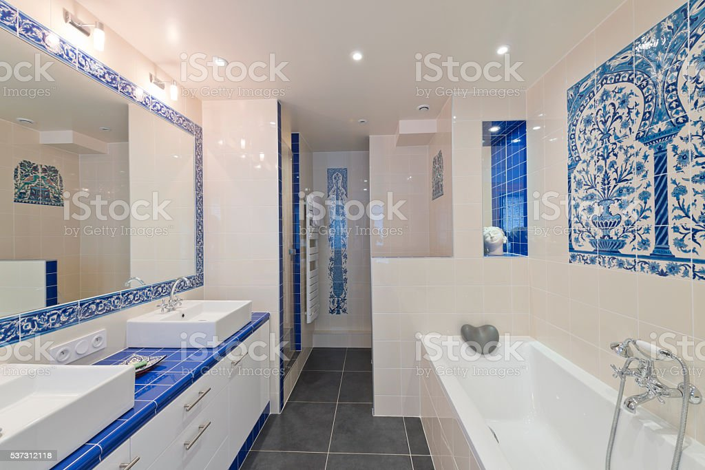 Design of modern luxury bathroom interior. stock photo