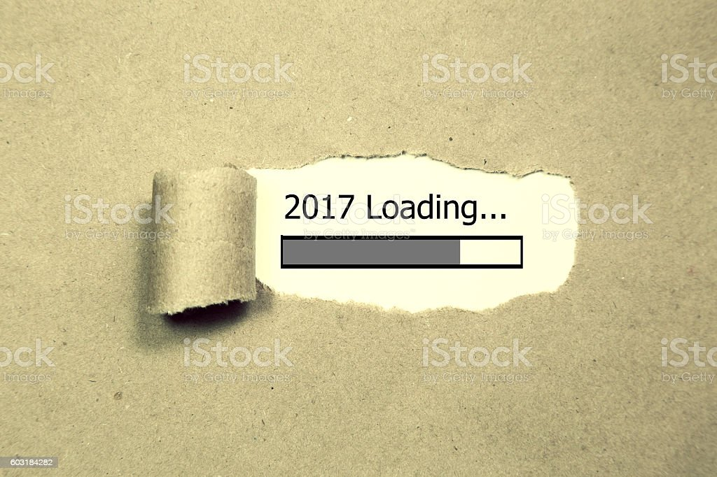 Design of progress bar, 2017 loading with torn paper stock photo