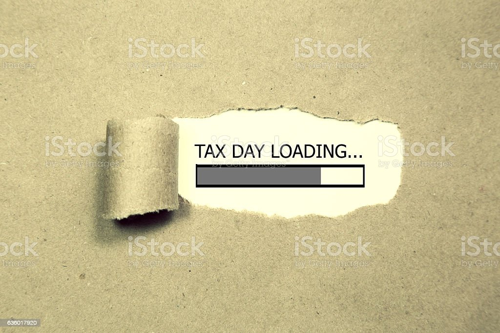 Design of progress bar, tax day loading with stock photo
