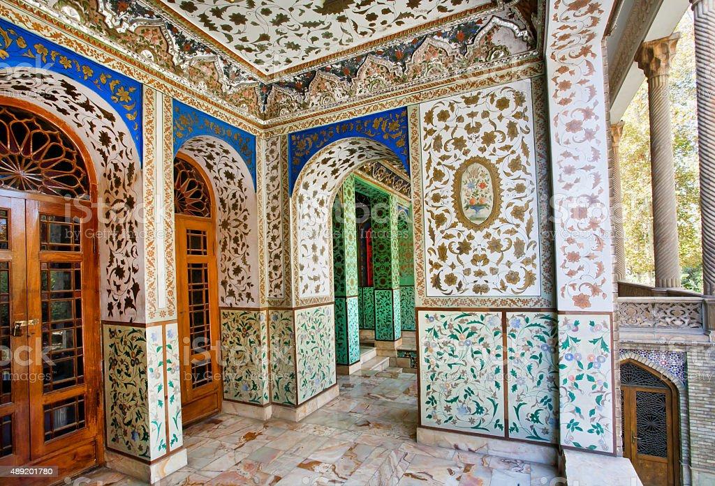 Design of the palace Golestan in Iran stock photo