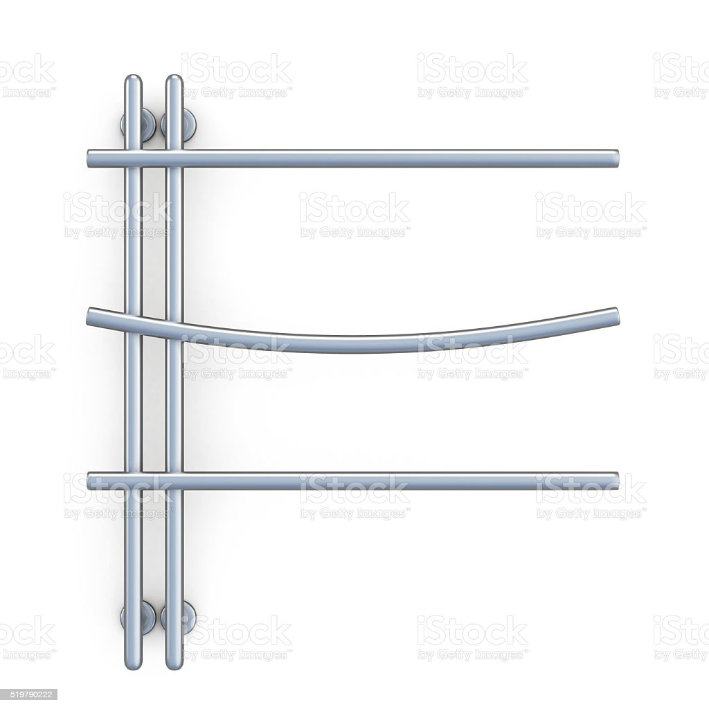 Design of the towel rail isolated on white background. stock photo
