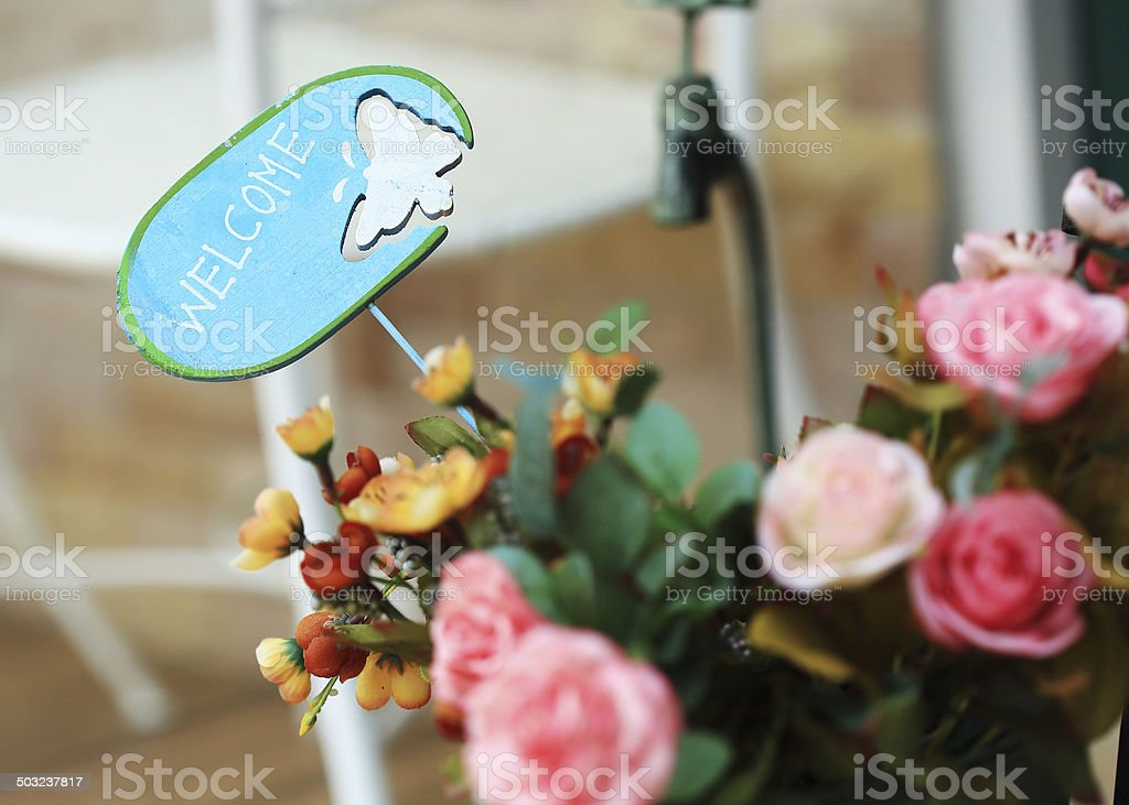 design of welcome sign stock photo