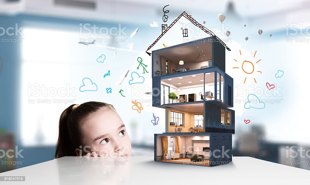 Design of your dream house . Mixed media stock photo