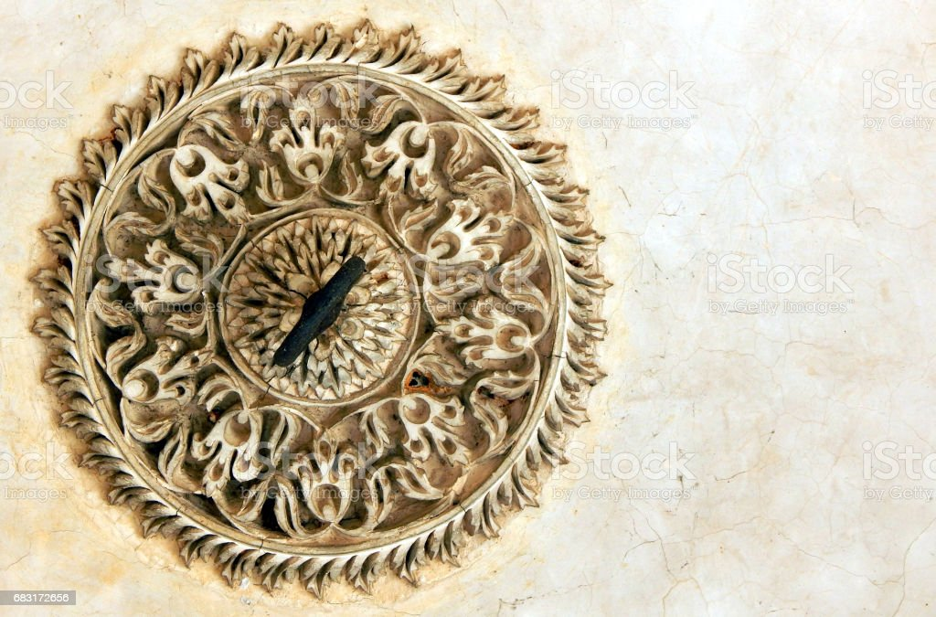 Design on roof of 200 years old paigah tombs,Hyderabad,India stock photo