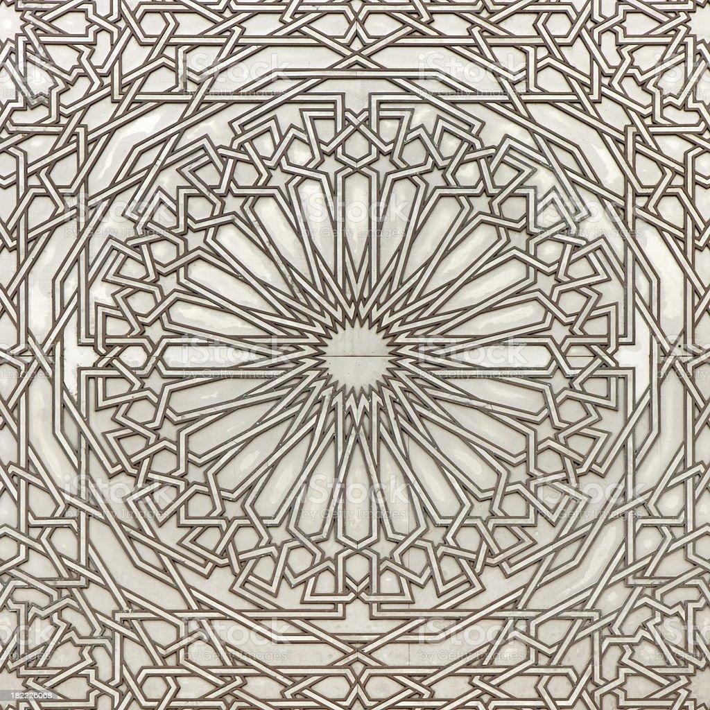 Design On The Giant Door Of Hassan II Mosque stock photo
