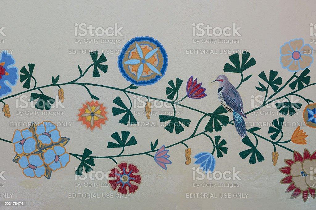Design on walls of Mission San Luis Obispo stock photo