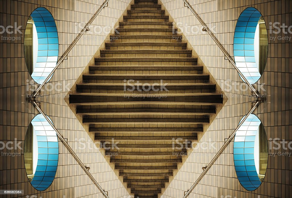 Design, subway, stairs, wall with hole, kaleidoscopic stock photo