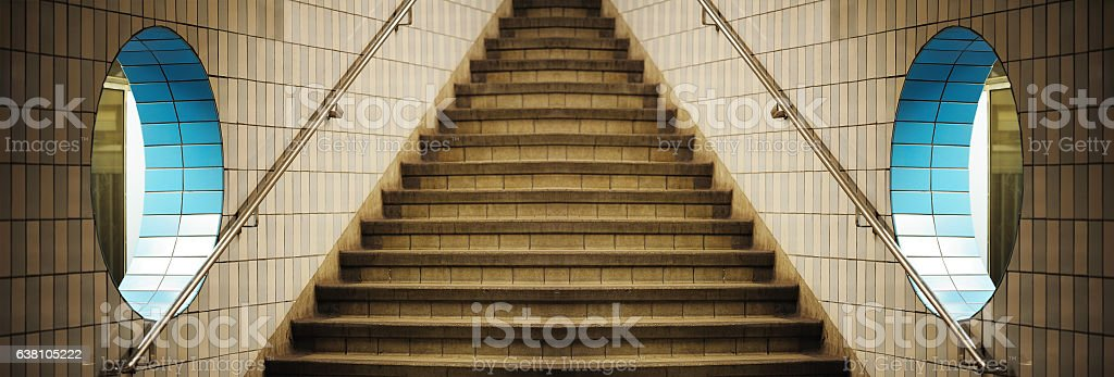 Design, subway, stairs, wall with hole, mirrored stock photo