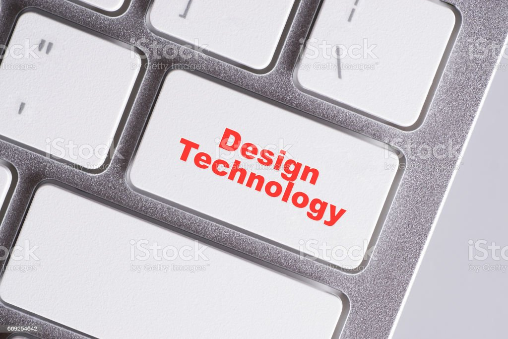 'Design Technology' red words on white keyboard - online, education and business concept stock photo