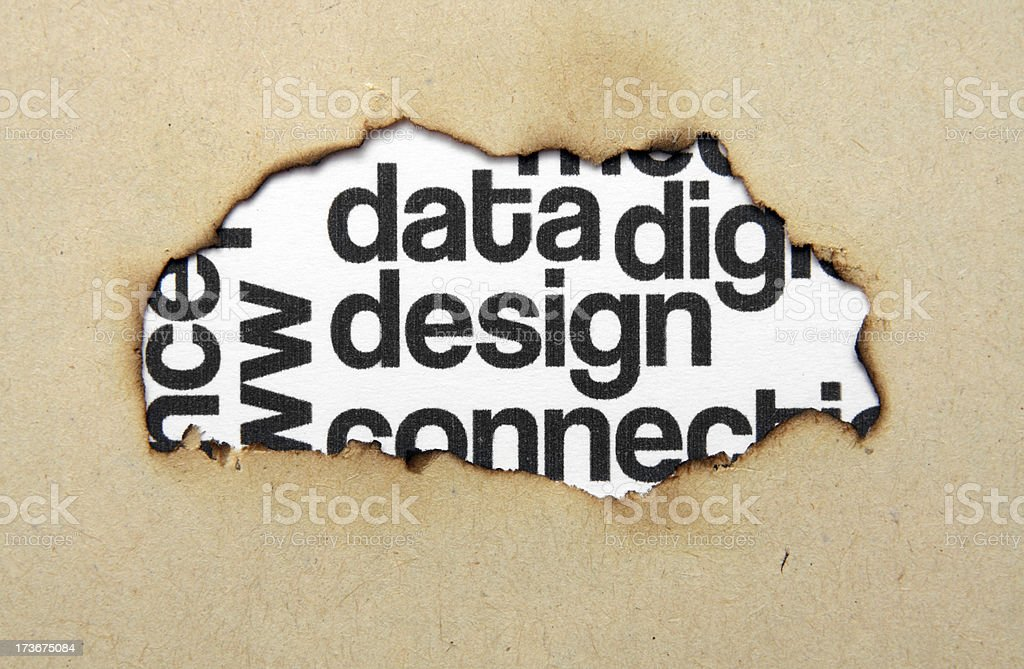 Design text on paper hole royalty-free stock photo