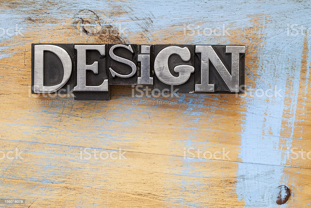 design word in metal type royalty-free stock photo