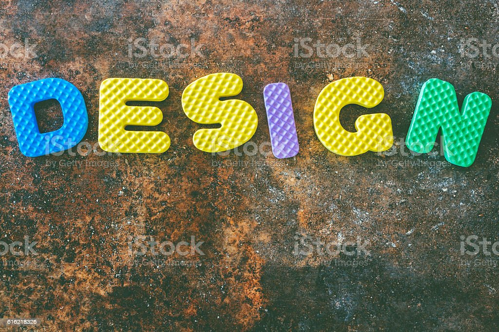 Design word in vintage  on stone  background stock photo